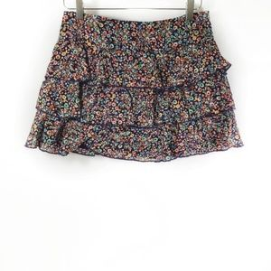 Express Floral Multi Colored Layered Mini Skirt 4